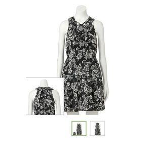 ELLE Womens Size XL Floral Print Mini Dress